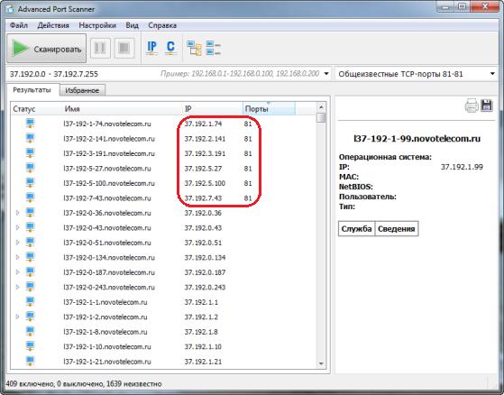 Результат сканирования программой Advanced Port Scanner